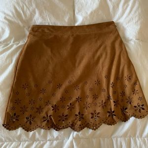 A brown suede mini skirt